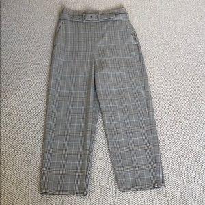 Zara plaid high waist trousers with buckle